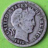 USA DIME BARBER 1912
