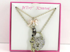 Betsey Johnson Heart Key Charm Pendant Layer Necklace New in Box!