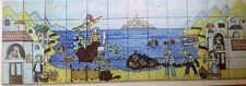 Ceramica Pannello Decorato A Mano 40x120 Paesaggio Borgo Marinaio Naif Vietrese
