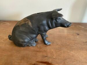 Vintage Cast Iron Sitting Pig Coin Bank and Door Stop c. 1940s