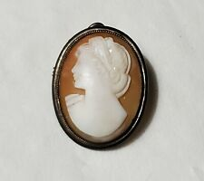 Antique PETITE 800 Silver Shell Cameo LADY Pendant Brooch Pin ~ Child Doll Size