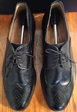 Men's Alter Ego Leather Wingtip Black Dress Shoes Size 9.5 Made In Italy
