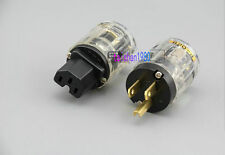 LOT OF 20 x 1 Pair C-029 IEC Connector+P-029 US Power Plug for Audio Transparent