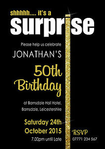 PERSONALISED SURPRISE SILVER or GOLD I PARTY INVITES shh invitations Pack of 10
