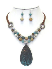 Hammered Metal Teardrop Multi Beads Mix Chain Necklace Earrings set Patina