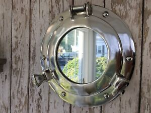 "9"" Porthole Mirror ~ Chrome Finish ~ Nautical Wall Decor ~ Ship Cabin Window"