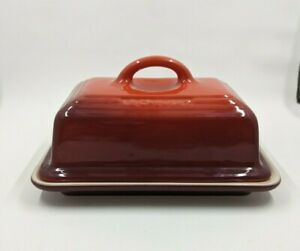 """Le Creuset Heritage Butter Dish With Lid Red 5 x 3.5""""  Brand New Ceramic"""
