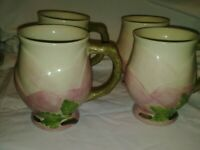 Franciscan Desert Rose Sculpted Shaped Coffee Mug Made In Portugal lot of 4