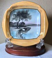 "Vintage Chikaramachi Japan Hand Painted Square Bowl Lusterware Lake Scene 7.75"""