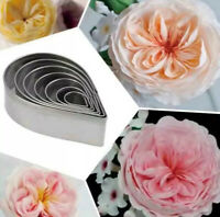 7pc Rose Cutter David Austin Dahlia Flower Stainless Steel Petal Cookie Pastry