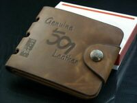 Billeteras de cuero Cartera Tarjetero de hombre Brown Business #197 Regalos