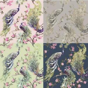 Holden Decor Menali Peacock Design Glitter Wallpaper 10m 4 Colours