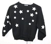 Zara Knitwear Fancy Collection Black White Stars Long Sleeve Sz 10