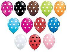 """Lot de 6 Qualatex 11"""" Pois Ballons De Fêtes Latex (hélium ou Air) Anniversaire"""