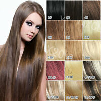 Women TOP Clip In100% Real Remy Human Hair Extensions Black Brown Blonde Red New