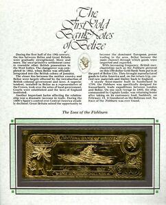 22kt Gold $100 Belize UNC 1981 Banknote- Fishburn - RARE