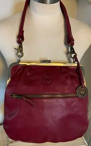 WANDERERS Leather Co. Australia Beautiful Burgundy PURSE HANDBAG