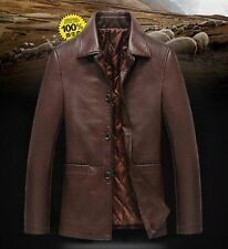 New Men's Leather Jacket Black Slim Fit Biker Motorcycle Coat Outwear Punk Hot S