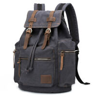Canvas Vintage Backpack Leather Trim Casual Bookbag Men Women Laptop Travel Ruck