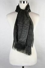 New Bottega Veneta Large Black Gray Line Patterned Silk Scarf 313441 1262