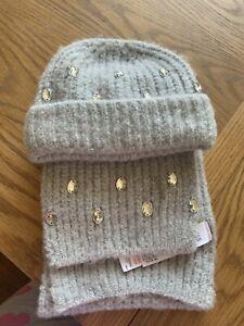 M&S BN Grey Hat & Scarf set - Age 3-6