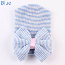 Newborn Child Hospital Hat Soft Baby Girl Nursery Beanie With Large Bow Blue