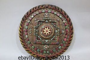13 Tibet Buddhism Temple Wood inlay Silver Gold Gem lotus flower Mandala Statue