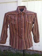 Baileys Point Womens Pearl Snap Corduroy Stretch Striped Shirt Jacket Size M