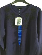 Cable And Gauge Navy Embellished Cardigan New Large Rrp $68