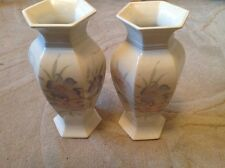 Pair of Stunning Hexagonal Vases by Royal Winton Coloroll. 9 Inches Tall.