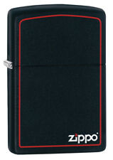 Zippo Black Matte Lighter w/ Border & Logo 218ZB NEW