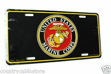US Marine Corps License Plate USMC Marines Black Round Emblem 6 x 12 inches