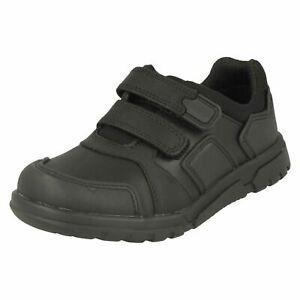 Garçons Clarks Noir Leather Crochet et Boucle F Pour École Chaussures Blake Rue