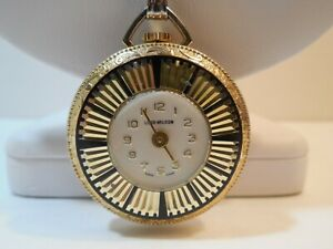 """Lord Nelson Lady Pendant Watch with 24"""" Silver Tone Metal Necklace ~ Wind Up"""