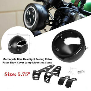 5.75 inch Motorcycle Headlight Fairing Racer Light Cover Lamp Mounting Stent