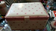 Sewing box padded top with handle spot design pink and cream