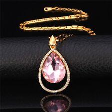Damen Halskette mit Strass-Steine Rosa Kristall Anhänger Tropfen 18k vergoldet