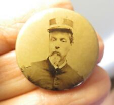 VICTORIAN occupational photo POLICE CHIEF FIREMAN PINBACK MOURNING PIN PORTRAIT