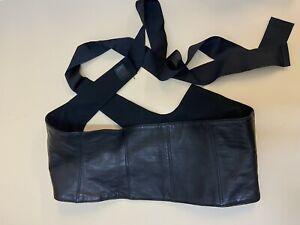 New Brunello Cucinelli 100% Leather Wide Corset Waist Belt W/Silk Sashes S