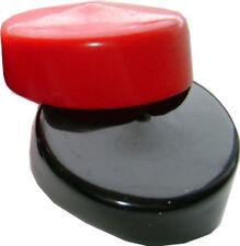 "Lot of 2 Plastic Caps, Black & Red - Fits 3"" OD Tubing - Flexible End Cap"