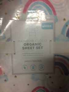 POTTERY BARN KIDS Rainbow Cloud Cotton QUEEN 4 piece Sheets Set NEW