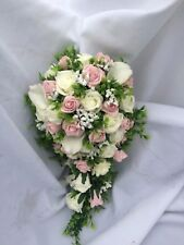 Wedding Flowers Shower  Bouquet Ivory & Pink Roses & Lillies  approx 22 inch