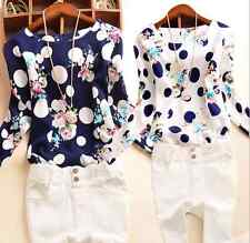 Plus Size Women Ladies Chiffon Long Sleeve Tops Blouse Printing T Shirt