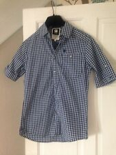 BN G Star Raw Correct Navy Check Western Shirt Short Sleeve Fitted Shirt Sz S