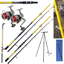 SEA FISHING SET - 2 X 12FT BEACHCASTER RODS + 2 X SILK 70 SEA REELS + 1 X TRIPOD