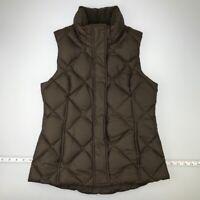 Eddie Bauer EB700 Womens Puffer Vest Brown Zip Up Goose Down Mock Neck Snap XS