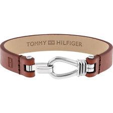 Tommy Hilfiger 2018 Embossed Leather Hook Clasp Bracelet Mens Brown Gift