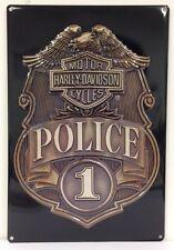 Ande Rooney HARLEY DAVIDSON POLICE BADGE Tin Motorcycle Officer Garage Sign NEW