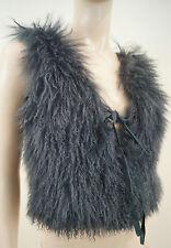 MAJE Midnight Bleu marine en peau de mouton Sans Manches Tie Front gilet veste Sz: TU