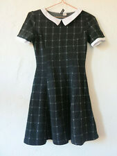 H&M Black Check Collared Dress Ladies 10/12 Mini Goth Victorian Anime Fit Flare